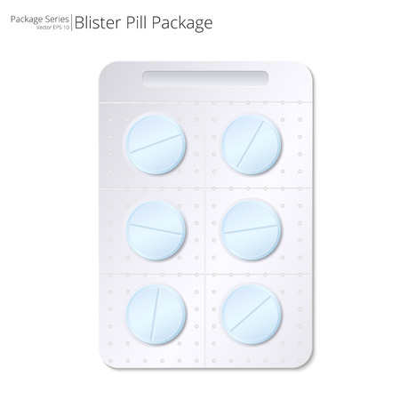 impotence: Blue Pills Blister Package. Vector Illustration of Blister Package of 6 Blue Pills. Illustration