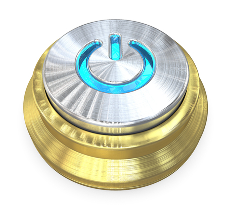 Power Button. 3D render of a Power Button of brushed Steel and Brass. Blue LED Light.