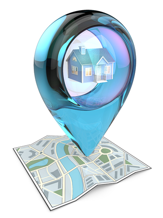 home icon: Home. 3D render of a Map with Blue Glass GPS Pointer containing a House. Stock Photo