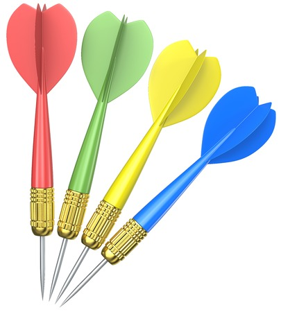 Isolated Dart Arrows. 3D render of 4 Dart Arrows. Red, green, yellow and blue. Isolated.