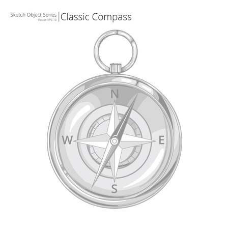 direction magnet: Vector  Compass. Sketch style Vector Illustration of a Compass.