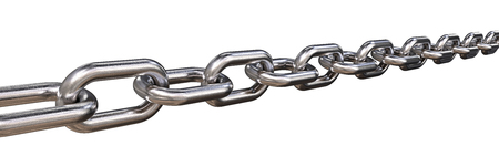 Isolated Steel Chain. 3D render of a Steel Chain. Worn rough texture. Isolated wide format. Stock Photo