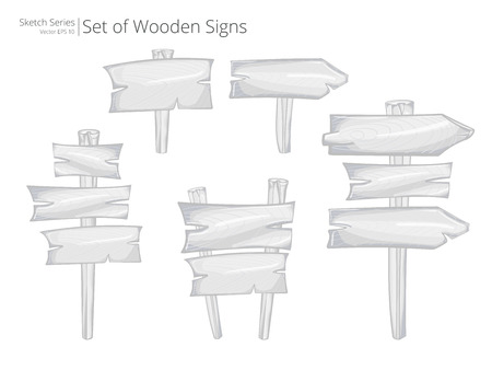 multiple: Vector Road signs and Signposts. Illustration Sketch Set of Wooden Road signs and Signposts. Rough style. Stock Photo