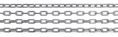 rotations: Metal Chains. Set of 4 metal Chains. Different rotations and Wide ratio. 3 top are Isolated,  3D render.