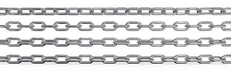 Metallketten. Set von 4 Metallketten. Verschiedene Drehungen und Wide-Verhältnis. 3 oben sind isoliert, 3D übertragen.