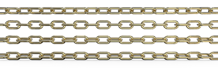 rotations: Gold Chains.  Set of 4 Gold Chains. Different rotations and Wide ratio. 3 top are Isolated,  3D render.