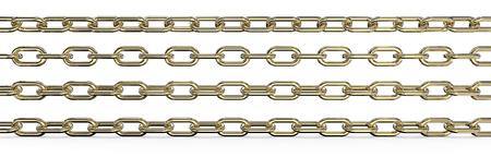 Goldene Ketten. Set von 4 Goldketten. Unterschiedliche Rotationen und breites Verhältnis. 3 top sind isoliert, 3D render. Standard-Bild