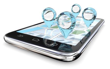 Lupe GPS Suche. GPS-Zeiger der abstrakten Blue Glass auf Smartphone Bildschirm Karte. 3D übertragen.