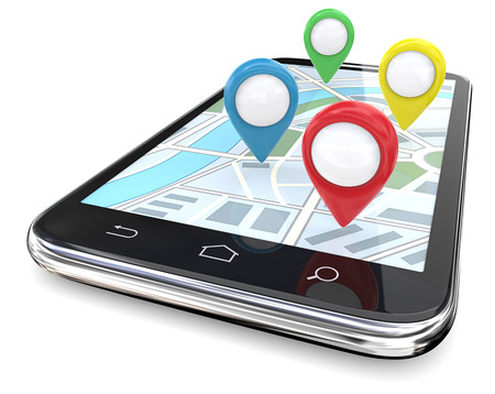 wireless icon: Smartphone GPS pointers. Smartphone with GPS pointers on Screen Map. Red, green, blue, yellow.  Copy Space, 3D render.