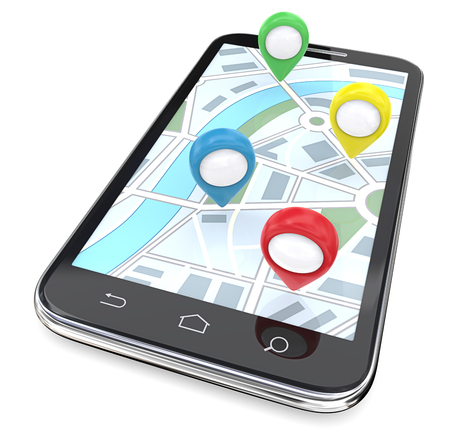 big screen: Mobile GPS Pointers. Smartphone with GPS pointers on Screen Display Map. Top View. 3D render.