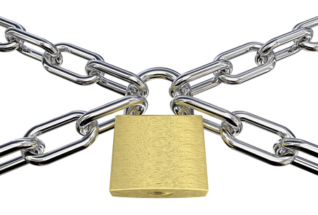 heavy risk: Security. Chains in a Cross with Brass Padlock.  Isolated. 3D render.