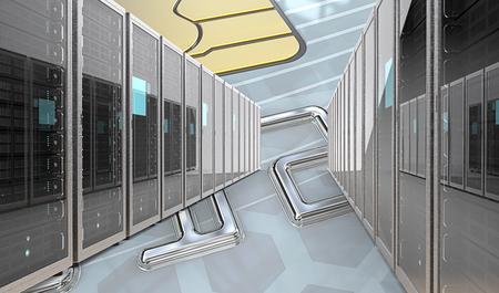 Sichere Bankserver. Server Racks Row über abstrakte Kreditkarte Hintergrund. 3D übertragen.