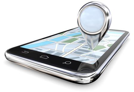 Suchen und Finden. Smartphone mit abstrakten Metall GPS Zeiger. Kopieren Sie Platz, 3D übertragen.