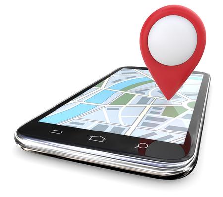 Roter GPS-Zeiger auf Karte. Smartphone mit großem rotem GPS-Zeiger auf Bildschirmkarte. Kopieren Sie Platz, 3D übertragen. Standard-Bild