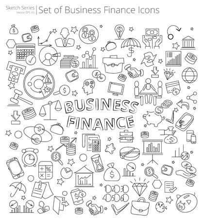 Hand gezeichnet Business und Finanzen Symbole. Vektor-Abbildung der großen Satz von Business und Finanzen Icons und Kritzeleien. Hand gezeichnete Skizze Stil.