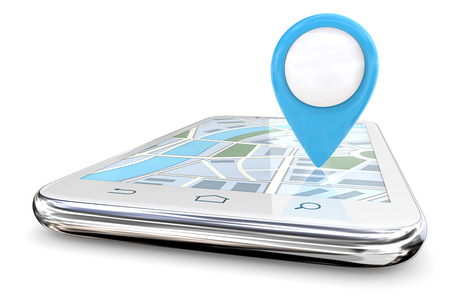 Blauer GPS-Zeiger und Smartphone. Weißes Smartphone mit großem blauem GPS-Zeiger auf Bildschirmkarte. Kopieren Sie Platz, 3D übertragen.