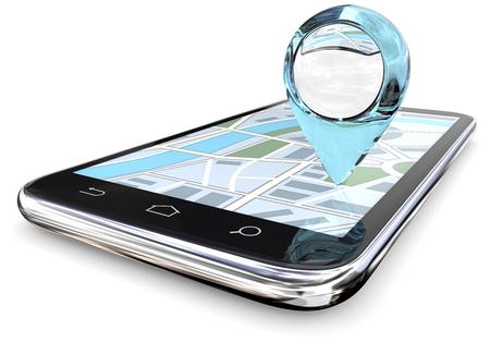 Detaillierte Suche. Großer GPS-Zeiger des abstrakten blauen Glases auf Smartphone-Schirm-Karte. 3D übertragen. Standard-Bild