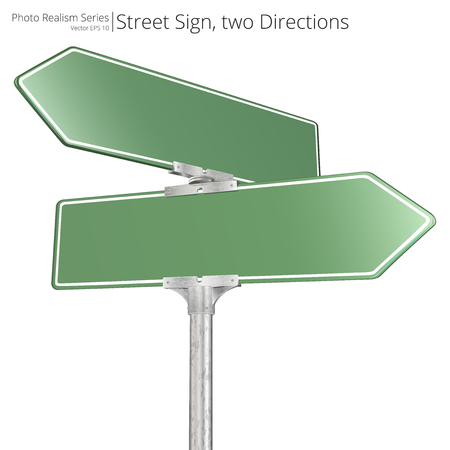Vector of green two way Street Signs pointing in opposite directions. Illustration
