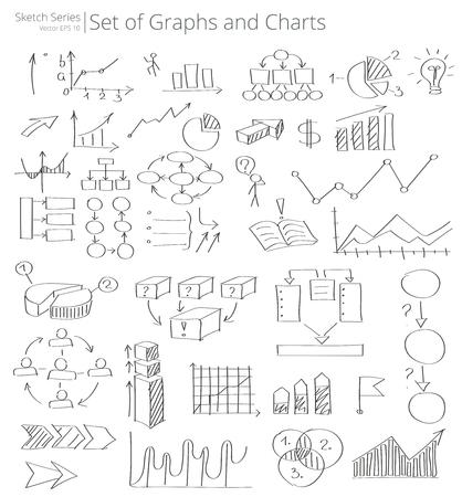 Hand gezeichnete Grafiken und Diagramme Symbole Vektor-Illustration von Satz von Grafiken und Diagramme Symbole und Doodles. Hand gezeichnet Skizze Stil.