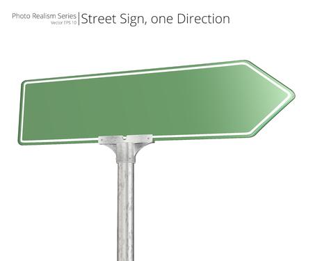 Vector Straßenschild. Green Vector Street Sign zeigt in eine Richtung. Isoliert und leer für Textfreiraum.