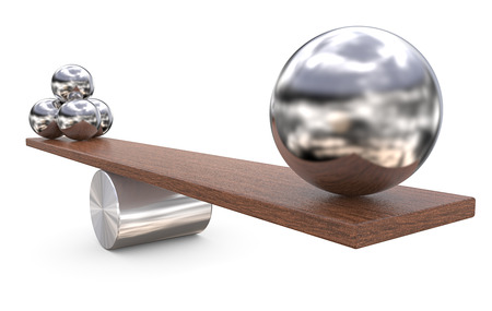 Balancing balls on wooden board. Four small and One Large on opposite side. 3D render. Standard-Bild