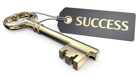 Der goldene Schlüssel zum Erfolg. Vintage Gold Key und Tag-Label mit dem Text Erfolg. 3D übertragen.