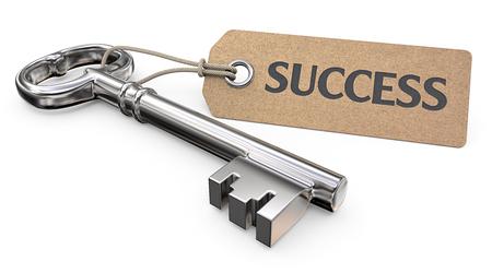 Schlüssel zum Erfolg. Vintage Steel Key und Tag Etikett mit dem Text Erfolg. 3D übertragen. Standard-Bild