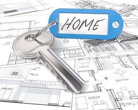 Hausprojektschlüssel. Moderner Stahlschlüssel und blauer Plastiketikettaufkleber mit dem Text Zuhause. Blaupausen und Zeichnungen Hintergrund. 3D übertragen. Standard-Bild