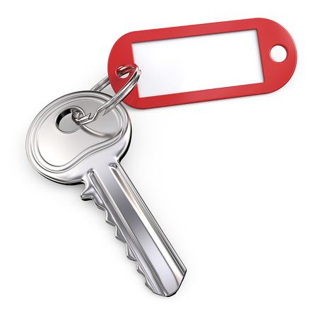 Schlüssel, Schlüsselring und Tag. Moderner Stahlschlüssel und roter Plastik Tag Etikett. Leerzeichen für Textfreiraum. 3D übertragen.