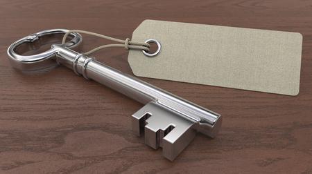 Sleutel met leeg label. Oude sleutel- en lege label voor kopieerruimte. Houten achtergrond. Ondiepe diepte van gebied 3D render.