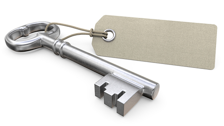 blank tag: Key with tag.  Old worn Key and Blank Tag label for Copy Space. 3D render.