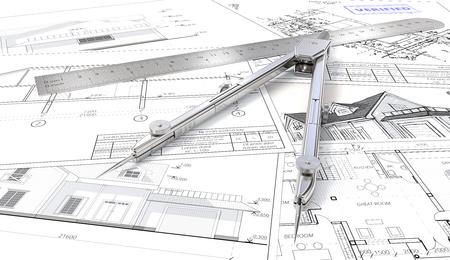 Huisplanning. Architectonische blauwdrukken, tekeningen en schetsen. Heerser en Divider van metaal. 3D render. Stockfoto