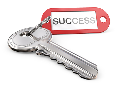 paper texture: Key to Success. Modern Steel Key and red plastic Tag label with the text SUCCESS. 3D render.