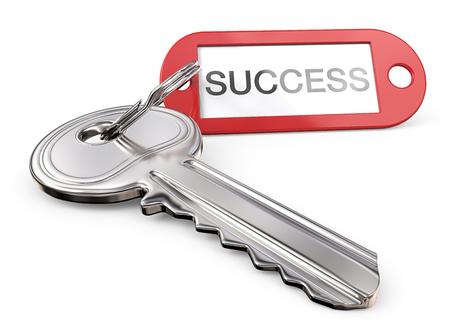 Schlüssel zum Erfolg. Moderner Stahlschlüssel und roter Kunststoff Etikett mit dem Text ERFOLG. 3D übertragen.