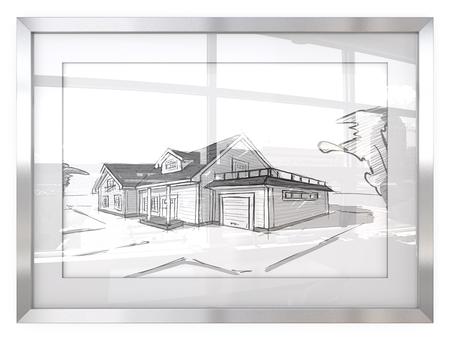 Kontrast. Bilderrahmen mit architektonischen Haus Skizzen.Generisches Gebäude. Reflektierendes Glas mit Stadtansicht. 3D übertragen.
