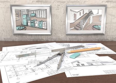 Hausprojektarbeitsplatz. 2 Metallbilderrahmen auf Betonwand mit Hausskizzen. Generische Architekturpläne auf Tabelle. Lineal, Bleistift und Teiler aus Metall. 3D übertragen.