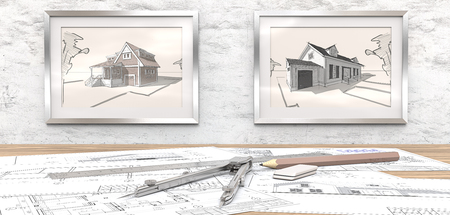 wooden floors: Dream house project. Generic Architectural blueprints on table. 2 Picture Frames on white concrete Wall with house sketches. Ruler, Pencil and Divider of metal. 3D render. Stock Photo