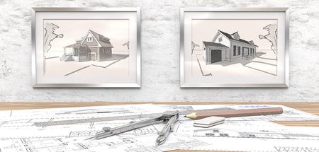 Traumhausprojekt Generische architektonische Blaupausen auf dem Tisch. 2 Bilderrahmen auf weißem Betonmauer mit Hausskizzen. Herrscher, Bleistift und Trenner aus Metall. 3D übertragen.