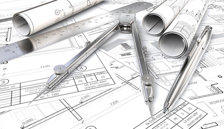 architect drawing: Blueprints and Drawings Rolls. Generic Architectural blueprints, drawings and sketches. Paper Rolls, Ruler, Pen and Divider of metal. 3D render.
