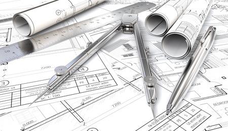Blueprints und Zeichnungen Rolls. Generische Architekturpläne, Zeichnungen und Skizzen. Papierrollen, Lineal, Stift und Teiler aus Metall. 3D übertragen. Standard-Bild