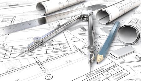 Von Skizze zu Blaupause. Architektonisches Haus Blaupausen, Zeichnungen und Skizzen. Rolls, Lineal, Bleistift, Radiergummi und Trenner aus Metall. Geringe Schärfentiefe, 3D render.