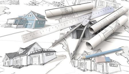 Blauw thema Architectonische werkplek. Bovenaanzicht van architectuurhuisdrukken, tekeningen en schetsen. Rolls, Heerser, Potlood, Eraser en Divider van metal.3D render.