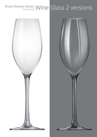 Wijnglas. Vector van Wijn Glas. 2 verschillende transparantie en ontwerp.