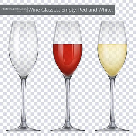 Wijnglazen. Vector illustratie van 3 wijnglazen. Een lege en anderen met rode en witte wijn. Stock Illustratie