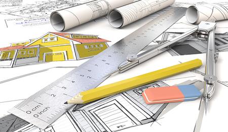 Haus Skizzen. Gelb Theme Architektonisches Haus Skizzen. Rolls, Lineal, Bleistift, Radiergummi und Trenner aus Metall. 3D übertragen.