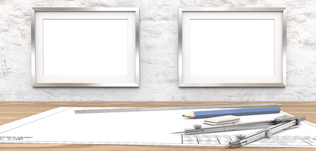 Blank drawings and Frames for copy space. Blank blueprint on table. 2 Blank Picture Frames on white concrete Wall. Copy Space. Ruler, Pencil and Divider of metal. 3D render.