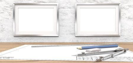 Lege tekeningen en kaders voor kopie ruimte. Lege blauwdruk op tafel. 2 lege afbeeldingsframes op witte betonnen muur. Ruimte kopiëren. Liniaal, potlood en scheidingslijn van metaal. 3D render.