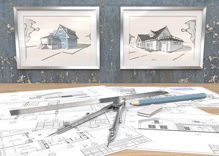 Blaues Thema Haus Projekt Arbeitsplatz. 2 Metall Bilderrahmen auf blau abgenutzten Betonmauer mit Hausskizzen. Generische architektonische Blaupausen auf dem Tisch. Herrscher, Bleistift und Trenner aus Metall. 3D übertragen.