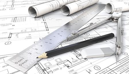 Architektonische Planung Architektonische Hauszeichnungen und Blaupausen. Rolls, Lineal, Bleistift, Radiergummi und Trenner aus Metall. Geringe Schärfentiefe, 3D render. Standard-Bild