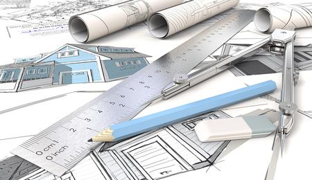 Haus Design Skizzen. Blue Theme Architektur Hauszeichnungen und Skizzen. Rollen, Lineal, Bleistift, Radiergummi und Metallteiler. Geringe Schärfentiefe, 3D render. Standard-Bild